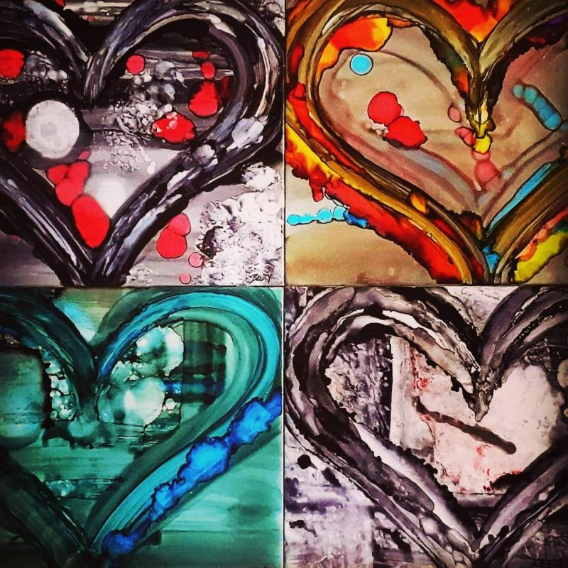 Alcohol Ink Heart Tiles
